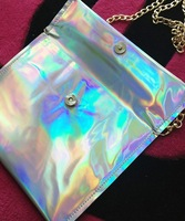 Fashion PU Hologram Laser Envelope Bag Handbag Multicolor  24.5*18cm Handbag Message Bag