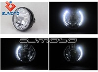 "Round 7"" Black H4 35w Halogen Headlight With White LED Halo Turn Signal M8 Side Mount Universal Motorcycle"