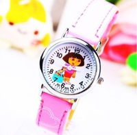 New Fashion 1PC Pink/Blue Dora Cartoon Children Girls Boys Kids Students Sports Leather Quartz Gifts Wrist Watches Free Shipping
