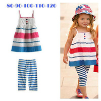 Kids Baby Girls Skirt Pants 2 PCS SET Blue Striped Straps Outfits Clothes 2-4 free shipping