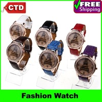 New Fashion Diamond Eiffel PU Band  Wrist Watch Lady Watch Student Watch Wholesale,