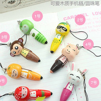 10pcs/lot Free Shipping School Supplies Miscellaneously Cartoon Pen ballpoint pen mobile phone chain 10g