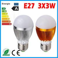 5X Cree E27 Led 9W Bulb E27 Socket Led Lamp Led Light Led Downlight AC85-265V CE/RoHS High Power Energy Saving,Free Shipping