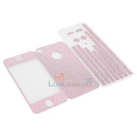 LY4# Full Body Wrap Glitter Decal Protective Skin Sticker for iPhone 4 4S Pink