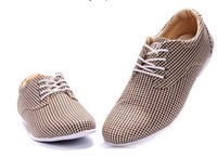 Free Shipping High quality Men Brand Plaid Shoes Fashion Oxford Men Dress Shoes Beige Casual Shoes size 40-46