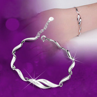 new 2013  girls  accessories 925 pure silver bracelet female fashion brief silver jewelry mother day gift accessories women