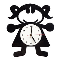 Kids Room Decoration Wall Clock For Children with Little Girl Picture Shape Mute Acrylic quartz Wall Clock Retail