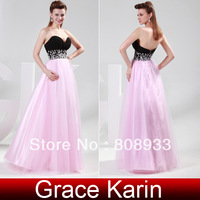 Free Shipping! Fashion 1pc/lot Strapless Chiffon + Tulle Ball Gown Evening Prom Party Dress, Black and Pink CL4415