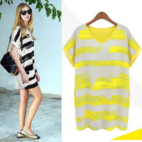 2013 summer V-neck loose chiffon color block stripe short-sleeve dress female plus size