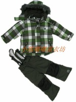 Free shipping Season child outdoor jacket set ski suit suspenders trousers sports wadded jacket cotton-padded jacket