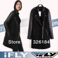 Free Shipping Women Coat Outerwear 2013 New Spring Winter Fashion Slim Leather Sleeve Patchwork Stander Collar Woolen Overcoat