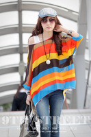 2013 New Women Bohemia Style Color Big Stripe  T-shirts Blouse WT28117