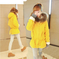 Autumn and winter women gentlewomen thickening maomao collar cotton overcoat with a hood wadded jacket outerwear medium-long