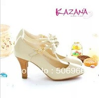Free shipping 2013 women's autumn  white high-heeled shoes bow decoration female casual shoes