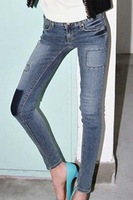 Free shipping 2013 autumn vintage applique all-match personality knee female skinny jeans
