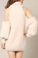 Free shipping 2013 autumn fashion sweet strapless lantern sleeve turtleneck knitted sweater one-piece dress female