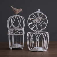 Fashion white rustic wrought iron birdcage candle table decoration mousse kit a034