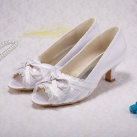 Spring Autumn Wedding Shoes Open Toe with Lace Fabric Low Heel Free Ship Customized