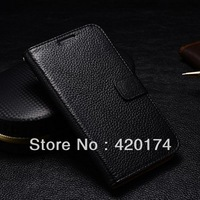 100% Original Geniune leather case with Stand, wallet design/card holder flip cover for Samsung Note 2 N7100 + screen protector