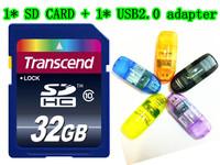 32GB 16GB 128M SD CARD HC Transcend Transflash SD CARD SDHC Flash Memory Card + Retail box + Gift USB adapter + Free shipping!
