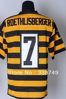 Free Ship Men's American Football Jerseys Cheap Pittsburgh 7 Ben Roethlisberger White Black Yellow Elite Jerseys,Embroidery Logo