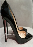 High quality free shipping red bottom sheos PIGALLE120 MM BLACK PATENT LEATHER CLASSIC PUMP