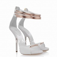 Free shipping newest heels real leather cover sole gold ankle strap peep toe Fine leather stiletto Rome sexy wedding shoes