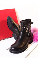 Free Shipping 2013 ladies fashion flat ankle boots low heels genuine leather ladies brand boots for women black boots