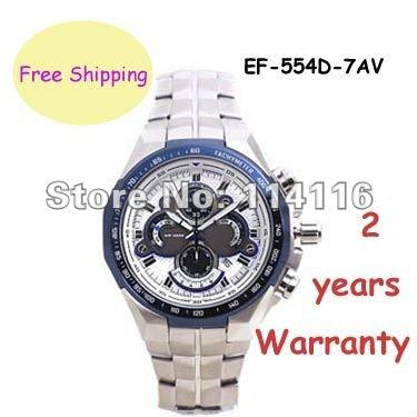 New EF-554D-7AV Mens Chronograph Sport Watch EF-554D EF 554D White Dial Wristwatch(China (Mainland))