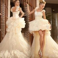 Cheap Formal Dresses Vestidos De Renda Festa Longo 2014 Vestido Low High Prom  Lace  Bandage Evening Dresses Dress Abendkleider
