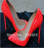Free Shipping High quality Red Pigalle Spike Patent Red Sole Pump black red bottom shoes heel