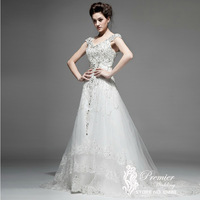 Actual Pictures Custom made Sexy V Neck Cap Sleeves Crystal Beaded Corded Layered Lace Fashion A line Luxury Wedding Dresses