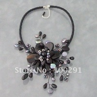 KJL//Amazing!!Wire Warp Flower Jewelry handmade pearl and black agate  bead Necklace Fit Party Wedding Anniversary Gift