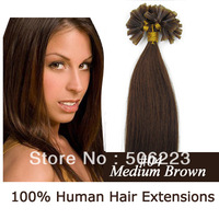 "18"" 20"" 22"" pre-bonded Kertain Nail tips U-tipped  fusion hair extension #2 dark brown 100strands 0.5g/S"