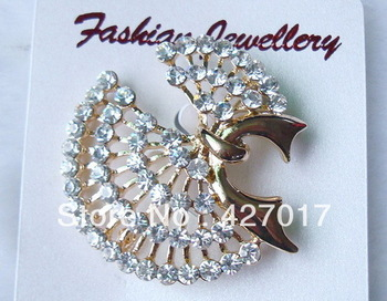 Min Order is $8(mix different goods) Bling Bowknot Flower Crystal Rhinestone Brooch Pin Gold Plating Wedding Party XMS Gift