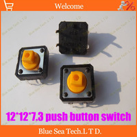Free Shipping Good quality 200pcs Tactile Push Button Switch 12*12*7.3MM Micro switch, square button switch yellow