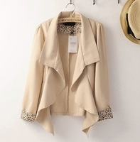 fREE gIFT 9075 2013 women's medium-long chiffon material cuff leopard print small suit jacket