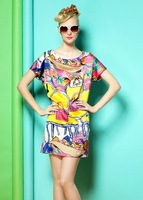 2608 2013 spring and summer women's handbags print plus size loose batwing sleeve one-piece dress