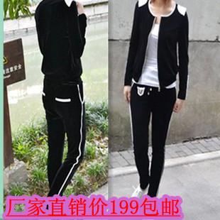 Free shopping velvet sports set women's gold velvet o-neck hot-selling sweatshirt slim skinny pants(China (Mainland))