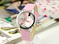 3 colors / lot transparent cartoon anime for Mic key Min nie sided glass mirror watche leather watches