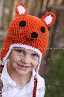 Fashion hot-selling - baby fox style crocheted hat handmade child ear protector cap cotton