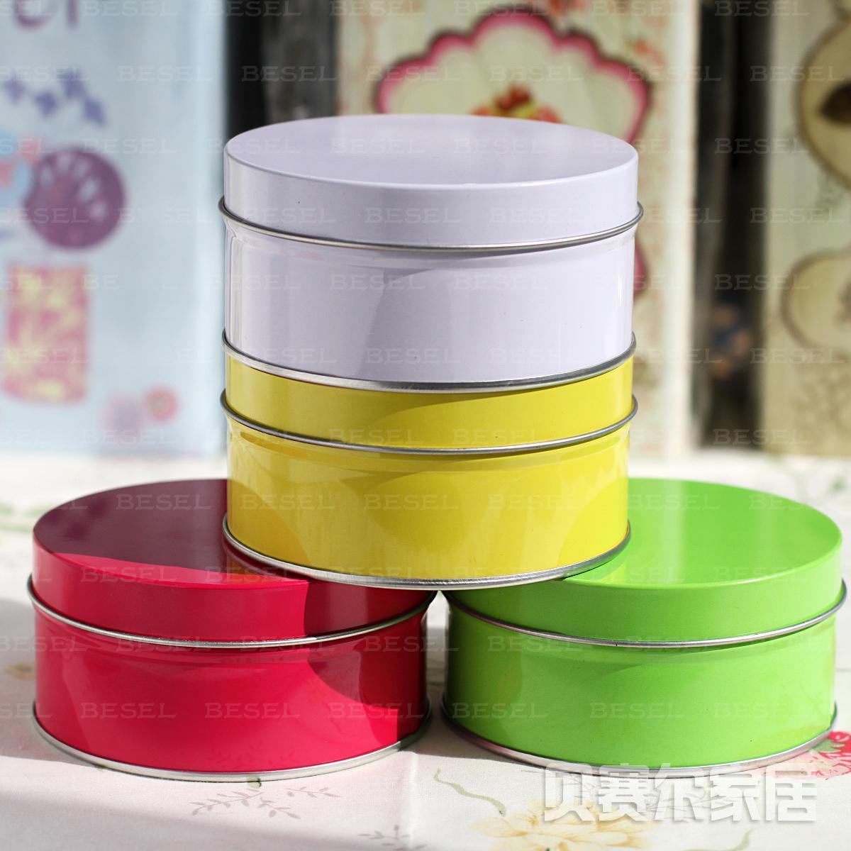 Zakka circle tea caddy tin box exquisite gift decoration storage box(China (Mainland))