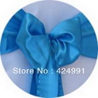 100pcs Hot Sale Turquoise  Blue Satin Chair Sash For Weddings Events &Party Decoration