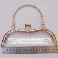 "New Arrival 10pcs 19cm 7.5"" Gold Vintage Metal Bag Handles Purse Frames Bag Accessory  For Sewing Patchwork"