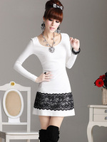 Hot-selling 2013 women fashion goatswool slim lace one-piece dress white  free shipping