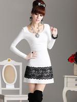 Hot-selling 2013 women fashion goatswool slim lace one-piece dress white  free shipping