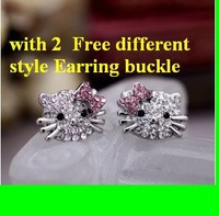Free shipping (24 pair/lot) Acrylic Silver plated hello kitty Earrings KT Stud Earrings , 48pcs/lot ,with 2 style Earring buckle