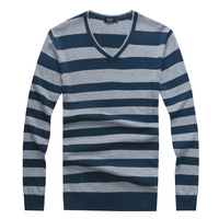 Jiesen autumn slim stripe sweater male 100% V-neck cotton sweater male sweater