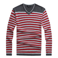 Jiesen autumn V-neck pullover sweater slim male 100% cotton stripe sweater