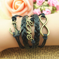 Vintage anchor love letter romantic black wax cord multi-layer bracelet